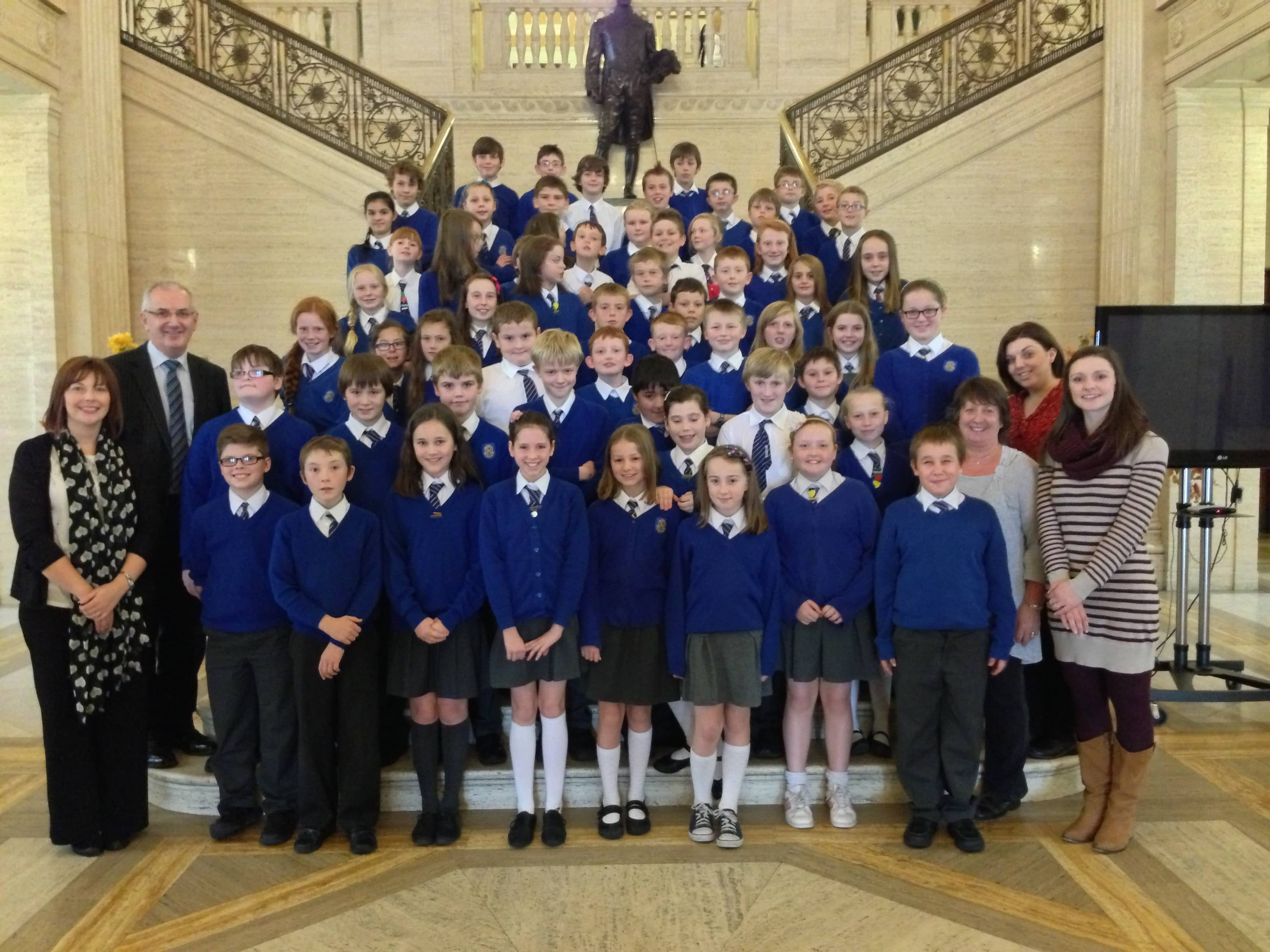 Armstrong Primary School at Stormont with Danny Kennedy