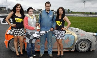 Danielle Hughes Presented the Trophy for the 2 Litre Hot Rods Final to World Champion Shane Murray on behalf of LMC Trade Sales at Tullyroan Oval on Sunday