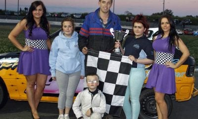 ProStock Final Winner David Wright receives his trophy from Shannon Ward Aaron Ward and Kiera McConnell on behalf of ASC Cars at Tullyroan Oval on Saturday Night