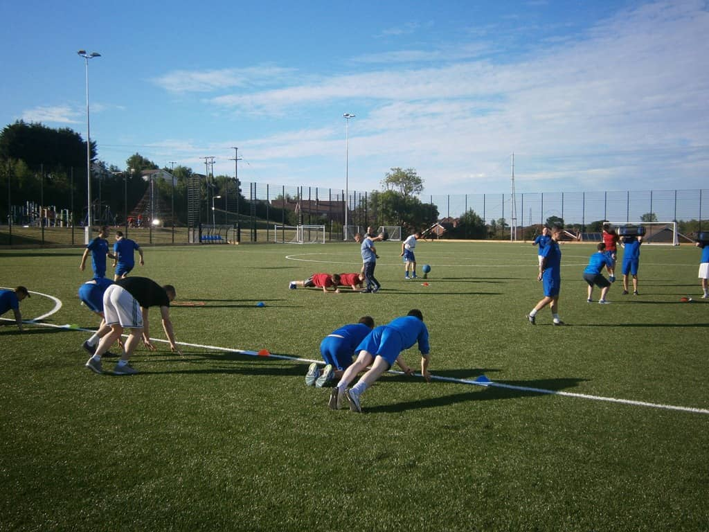 Hanover Football Club during their team fitness training session on the new 3G Synthetic Pitch at Tandragee Recreation Centre in preparation for the Mid Ulster Football League.