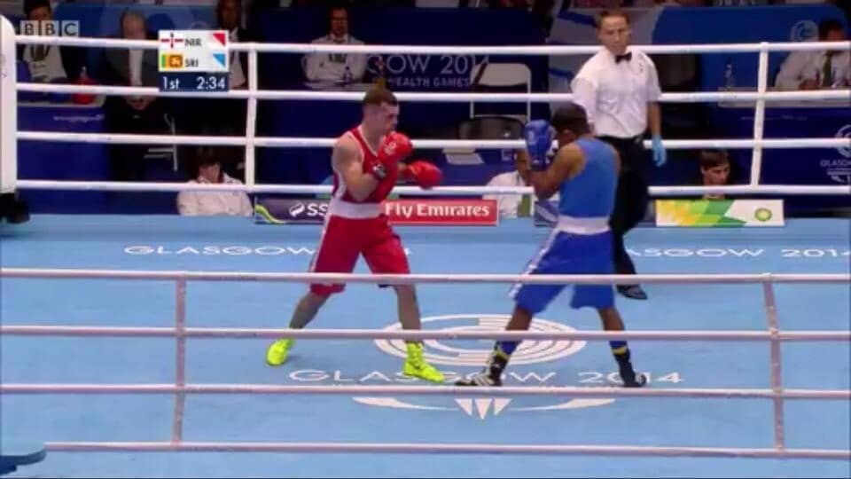 Armagh boxer Sean Duffy competing at the Commonwealth Games