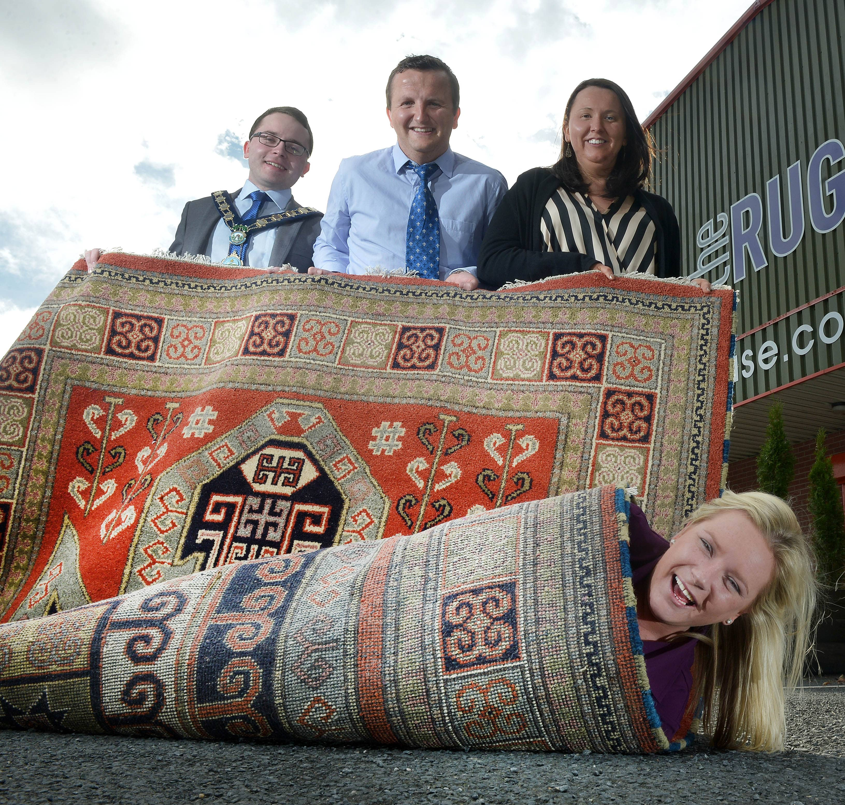 Left to right - Newry & Mourne Mayor Daire Hughes Owner's Paul Vallely & Clare Vallely Rug = Roisin Molloy (The Rug House)