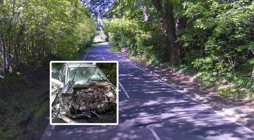 Armagh to Keady Road and the wreckage of a previous accident (inset)