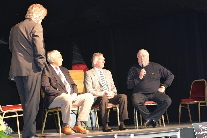 Former Ireland and British Lions Captain, Willie John McBride alongside Pat jennings and Joe Kernan