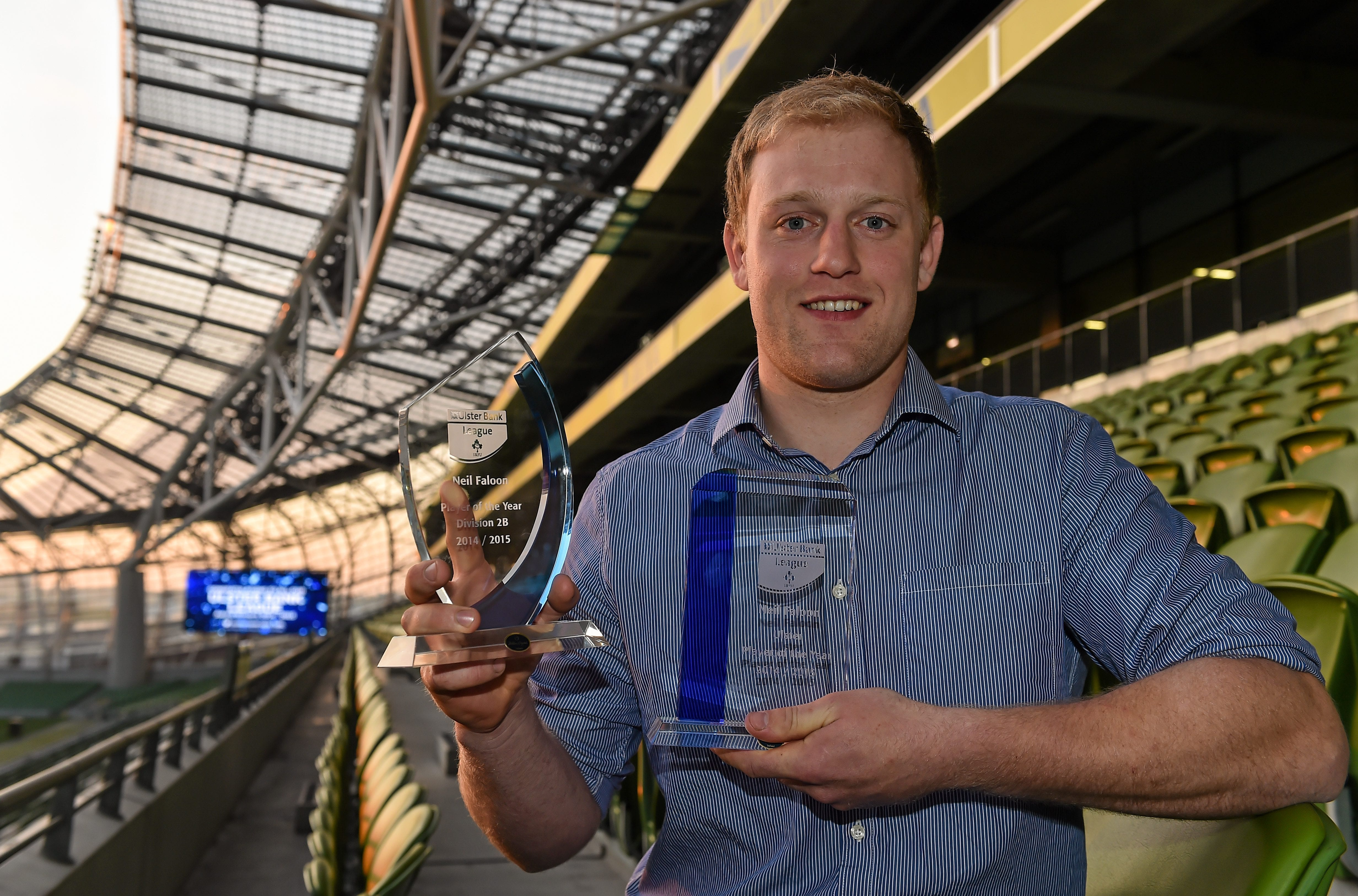 14 May 2015; City of Armagh player Neil Faloon collected two awards at this year's Ulster Bank League Awards held at the Aviva Stadium, Dublin last night (Thursday 14 May). Ireland's Head Coach Joe Schmidt presented Neil with the Ulster Bank Ulster Player of the Year Division 2B award and the Ulster Bank Ulster Player of the Year trophy. Local Ulster club players who featured on the awards shortlist included Ballynahinch's Ross Adair who was shortlisted in both the Rising Star and Ulster Provincial Player of the Year categories, Sean Taylor from Ballymena, named in 1B Division Player of the Year category and in the Ulster Provincial Player of the Year category along with Belfast Harlequin's Frank Taggart. Queen's University PROs Ryan Clarke and Keelan Durnien were also shortlisted in the Ulster Bank PRO of the Year. For more information on the Ulster Bank League Awards, go to www.facebook.com/ulsterbankrugby or find Ulster Bank Rugby on Twitter. Aviva Stadium, Lansdowne Road, Dublin. Picture credit: Brendan Moran / SPORTSFILE *** NO REPRODUCTION FEE ***