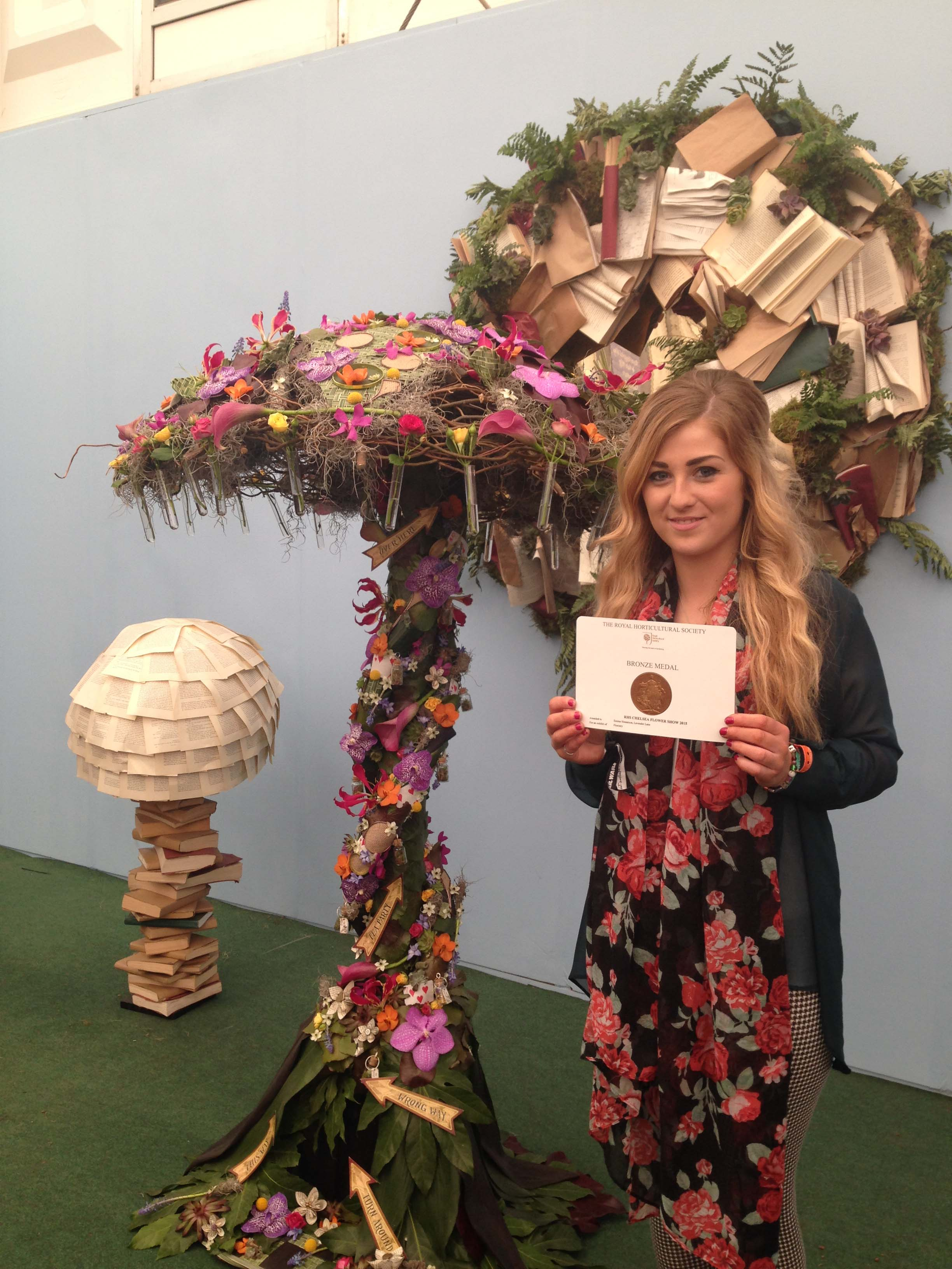 Armagh student Emma Sinnamon with her medal from the Chelsea Flower Show