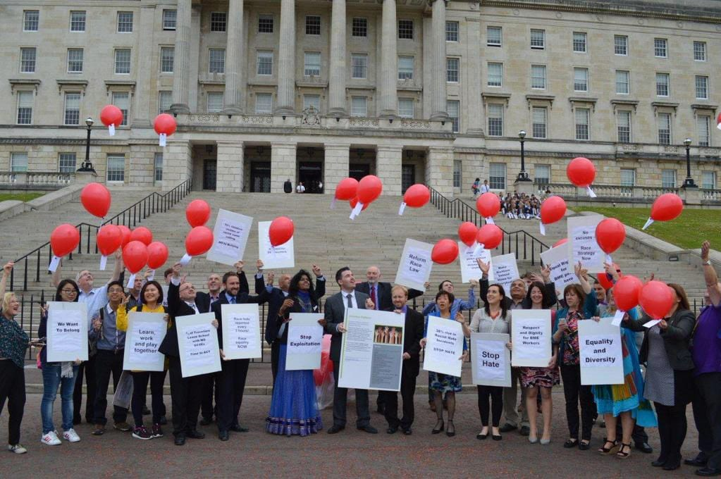 Balloon launch outside Stormont