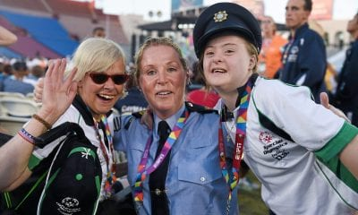 Team Ireland's Rita Quirke, left, a member of Moore Abbey Special Olympics Club, from Rathangan, Co Meath, Dearbhail Savage, a member of Saddle and Reins Special Olympics Club, from Mowhan, Co Armagh