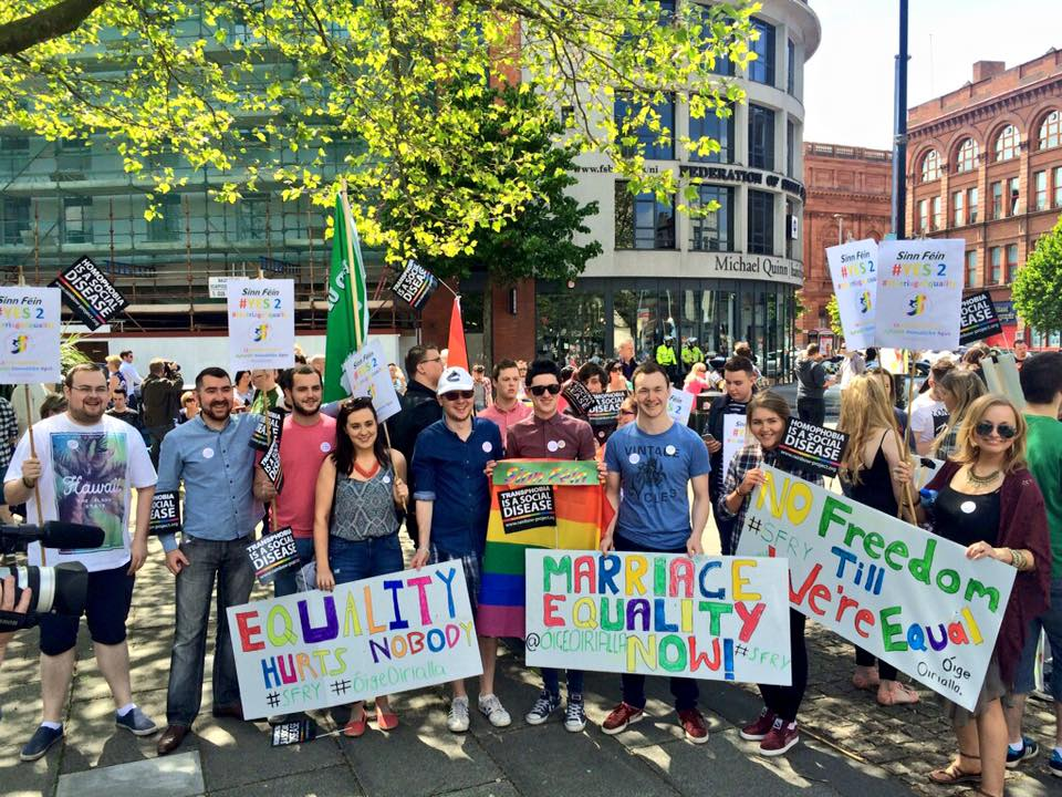 Megan Fearon with activists at the Marriage Equality march in Belfast.