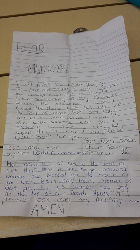 Letter found on Keady Road