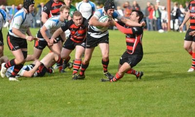 James Morton forces his way through the Rainey defence