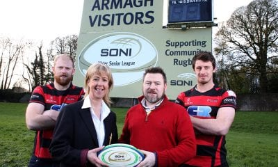 Players Robbie (R) and Neil Faloon (L - Captain) join Club President Shirley Anne Donaldson with Project Manager at SONI, Shane Brennan to celebrate the new sponsorship.
