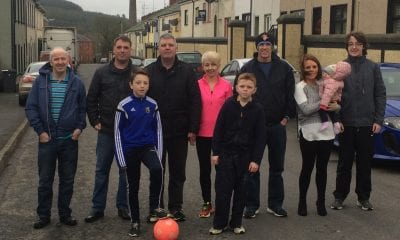 Cllr Darren McNally and MLA Cathal Boylan pictured with local residents of Darkley