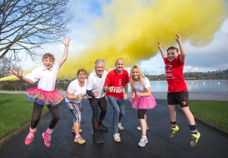 Lord Mayor of Armagh, Banbridge and Craigavon, Councillor Darryn Causby gets everyone ready for the first Heart & Sole Colour Dash taking place in the park on Sunday 17th April.