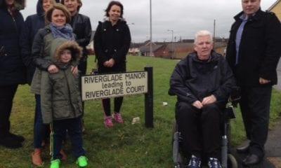 Sinn Fein Councillor Fergal Lennon with local residents