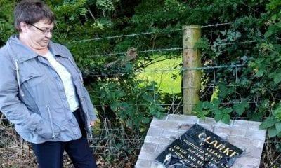 Widow Betty Clarke at memorial to her husband William Clarke