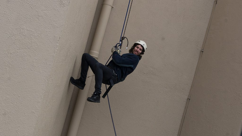 Lord Mayor Gareth Keating abseils down the Armagh City Hotel all in aid of the Southern Area Hospice