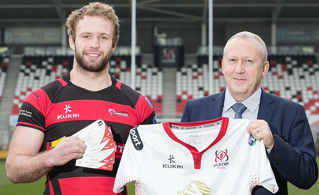 Armagh RFC's James Hanna with Senior Manager at SONI Nick Fullerton, launching SONI's 'Player of the Round' at Kingspan Stadium