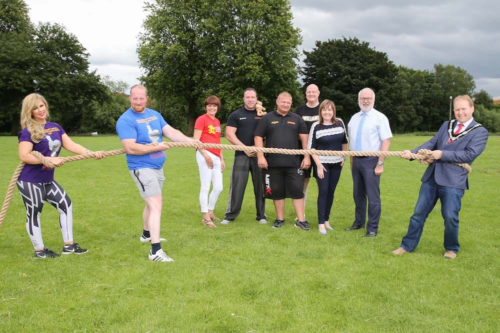 Lord Mayor, Alderman Gareth Wilson, Councillor Julie Flaherty, Simon Truesdale, Event Coordinator, Steven Black, Co-Director Warehouse Gym (Main Sponsor of Event and co event organiser), Strongman, Michael Wilson, Strong Woman, Laura O'Hara, Adrian Farrell, President of Portadown Chamber of Commerce and Owen Matchett, Williams Estate Agents (Sponsor of the event).
