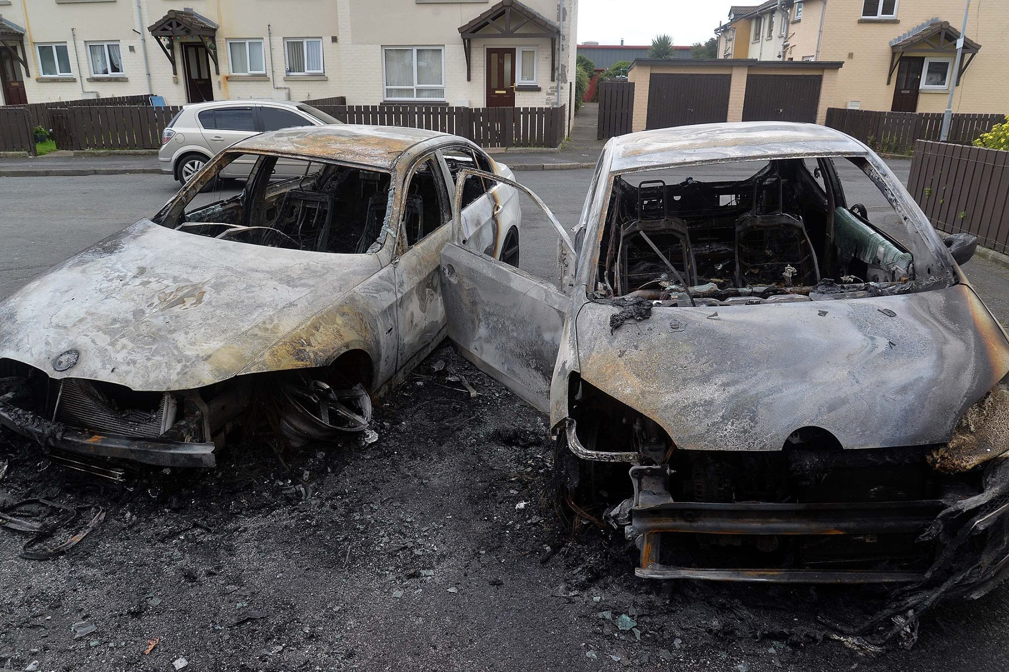 Cars destroyed Portadown