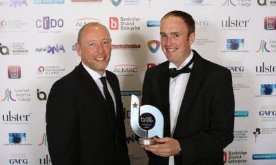 William Gilpin, Gilfresh Produce receives the Best Agri-Food Business Award from Gareth Williamson, Bank of Ireland (award sponsor).
