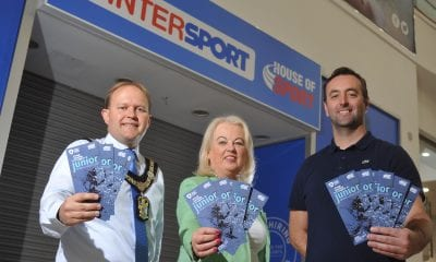 Lord Mayor of Armagh City Banbridge and Craigavon is joined by Edith Dixon, Sports Forum Chair and Padraig McKeever, House of Sport to launch the upcoming Junior Sports Awards.