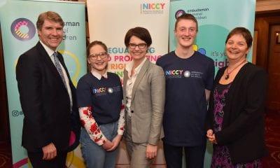 (L-R) Dr Niall Muldoon, Ella, Min Chloe Smith, fellow Steering Group Member from ROI & Koulla Yiasouma (NICCY)