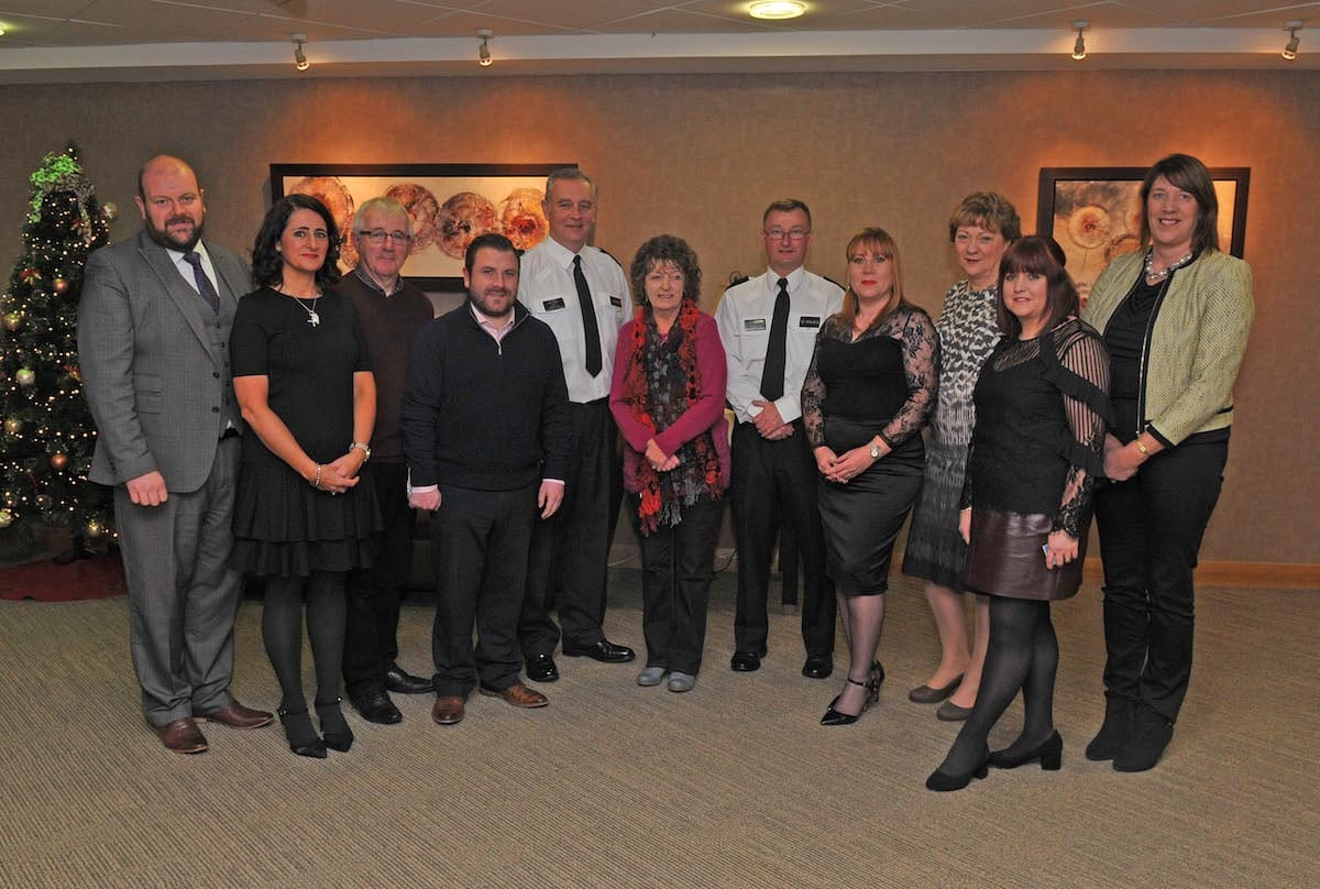Attending the PCSP Neighbourhood Watch Celebration at Craigavon Civic and Conference Centre, Councillor Mark Baxter; Annette Blaney, PCSP Project Coordinator; Eamon O'Neill, PCSP Independent Member; Thomas Larkham, PCSP Independent Member; Sergeant Billy Stewart; Doreen McNally, Neighbourhood Watch Coordinator; District Commander David Moore; Patricia Gibson, PCSP Manager; Amanda Mulholland, Northern Ireland Policing Board; Cath Donnelly, Neighbourhood Watch Coordinator; and Councillor Freda Donnelly