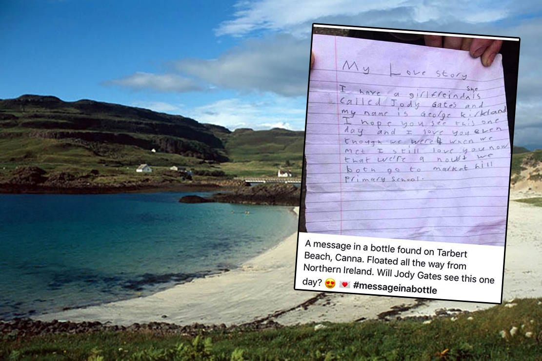 love letter in a bottle from markethill schoolboy washes up in scotland 10 years on armagh i