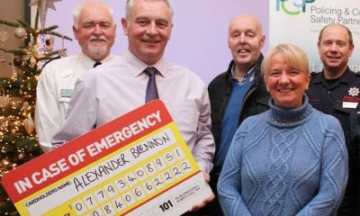 Pictured at the launch of the 'in case of emergency card' (ICE Card) Chief Inspector Barney O'Connor, PCSP Project Officer Billy Stewart, PCSP members Alderman Junior McCrum and Beverley Burns, Crew Commander Lee Murray, NIFRS
