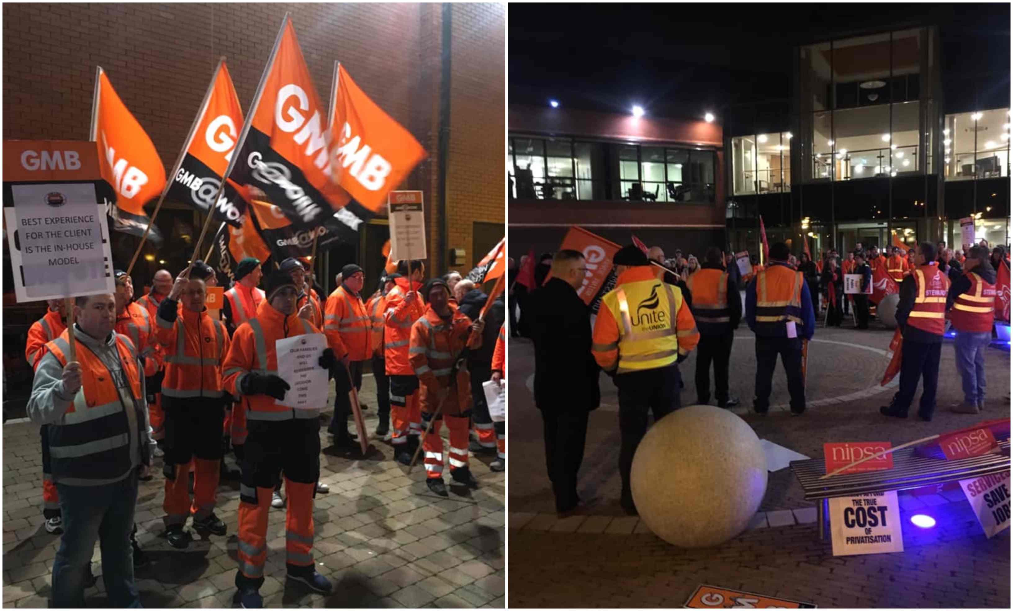 Protestors outside Craigavon Civic Centre