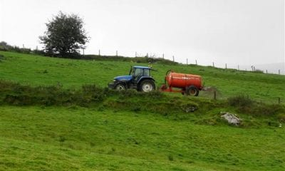 Tractor slurry spreading in northern Ireland