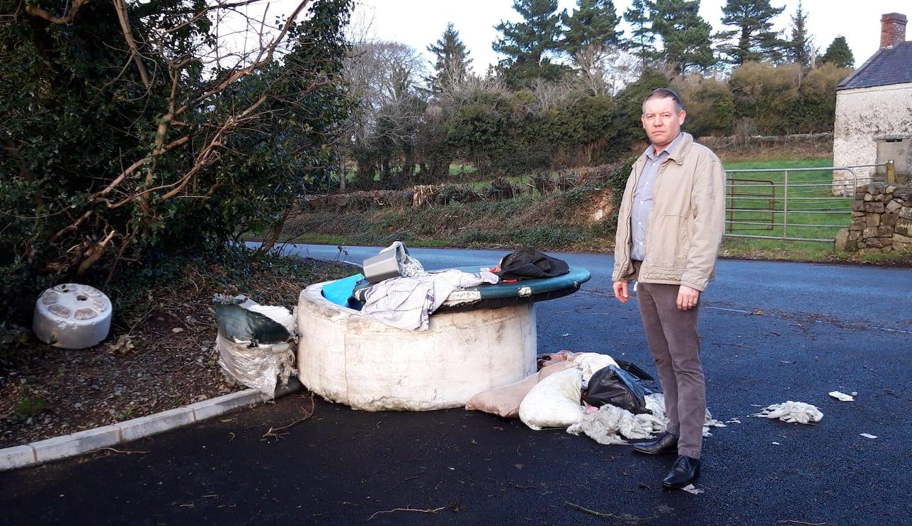 Sinn Fein councillor Mickey Larkin fly-tipping Slieve Gullion