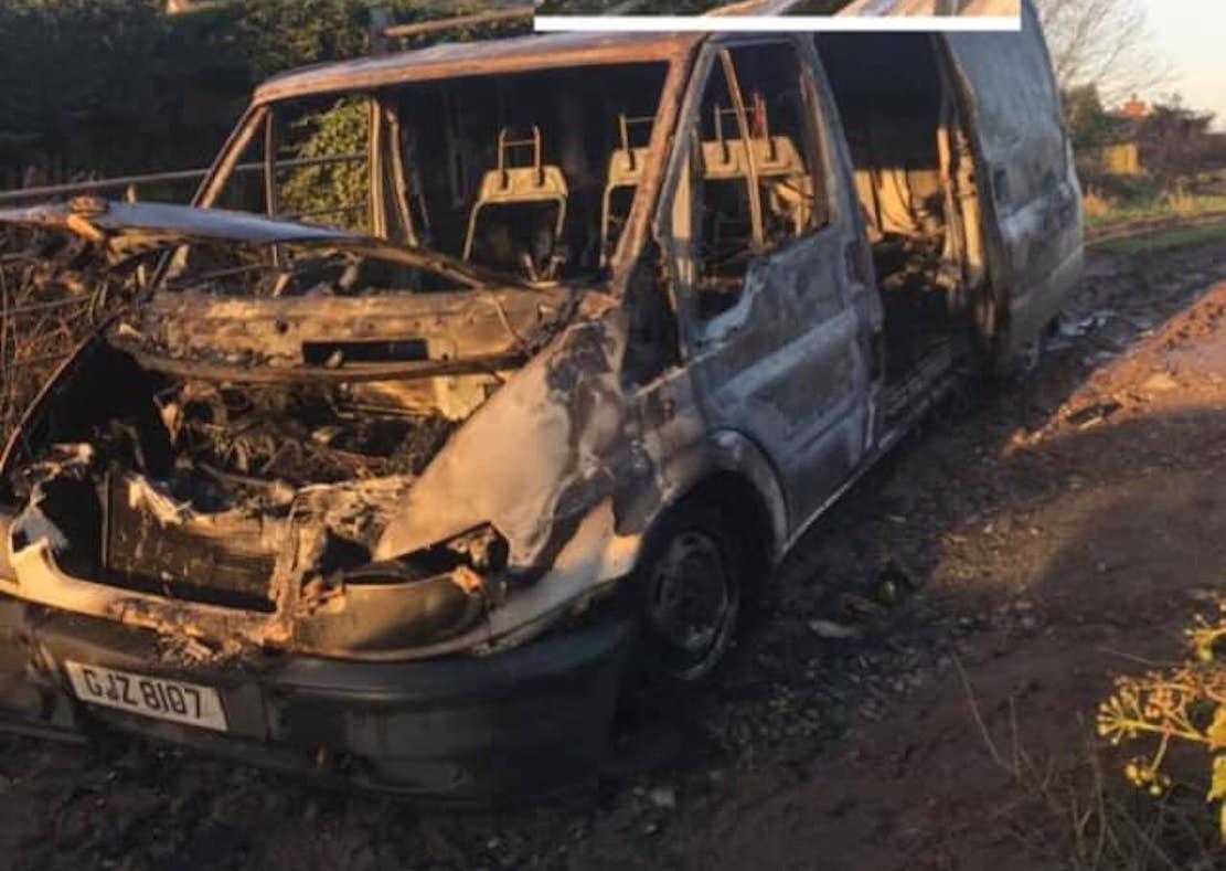Burnt out van GK Cleaning Services Banbridge
