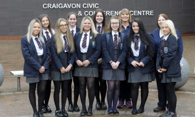 International Women's Day event, Craigavon Civic Centre 5th March 2019, Nuala McKeever joined Craigavon Senior High with Teacher Irene Megaw. ©Edward Byrne Photography