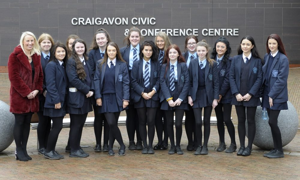 International Women's Day event, Craigavon Civic Centre 5th March 2019, St Patrick's College< Banbridge with Teacher Tracey Cartmill. ©Edward Byrne Photography