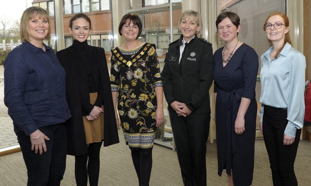 International Women's Day event, Craigavon Civic Centre 5th March 2019. Pictured from left Compere Nuala McKeever, Keeva Murtagh (The Prince's Trust), Lord Mayor Cllr Julie Flaherty, Inspector Rosemary Leech MBE (Road Policing Development), Alison Matthews (owner of VirtuAli Administrative Solutions) and Mary Hanna (Policy & Diversity Officer, Armagh City, Banbridge & Craigavon Borough Council). ©Edward Byrne Photography