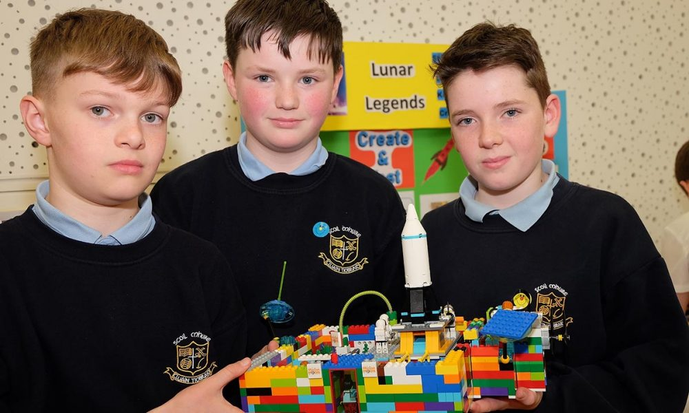 From left: Daniel Stephen and Korey of the Lunar Legends, Scoil Mhuire Clontibert. The Lego Mindstorm project brings children and teachers from primary schools together for Lego Mindstorm Workshops and subsequently for Space Challenge Competitions and Exhibitions of Project work and Project Sharing ideas. Peace by PIECE Lego Mindstorm funded by Peace IV co-ordinated by CMETB Tommy Makem Centre Keady Co.Armagh 9 3 2019 CREDIT: LiamMcArdle.com