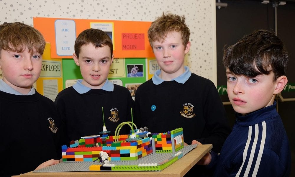 From left: Evan, Caolain, Jack and Darragh Scoil Mhuire Clontibert The Lego Mindstorm project brings children and teachers from primary schools together for Lego Mindstorm Workshops and subsequently for Space Challenge Competitions and Exhibitions of Project work and Project Sharing ideas. Peace by PIECE Lego Mindstorm funded by Peace IV co-ordinated by CMETB Tommy Makem Centre Keady Co.Armagh 9 3 2019 CREDIT: LiamMcArdle.com