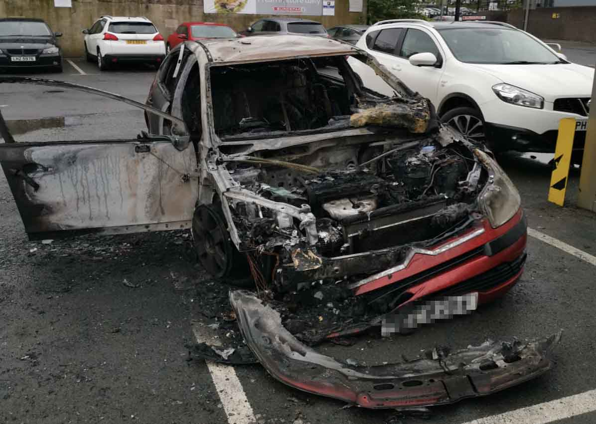 Car on fire in Armagh