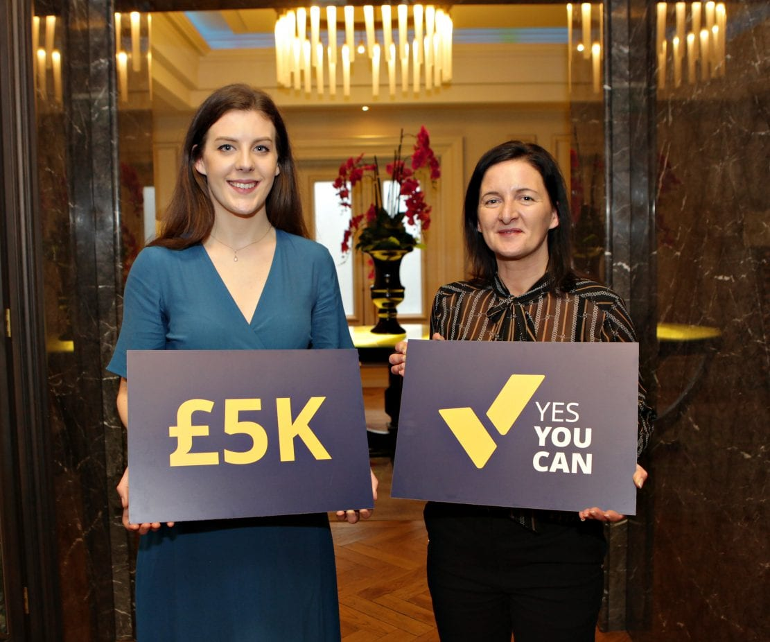 Winner of the Yes You Can pitch Sarah McAnallen of McAnallen Ltd with Lesley O'Hanlon of the Yes You Can program of Women in Business at the 3rd Annual Female Entrepreneurs Conference at Galgorm Hotel and Spa marking International Woman's Day with this year's theme of Be Bold for Progress hosted by Causeway Enterprise Agency and Women in Business. 113 Yes You Can