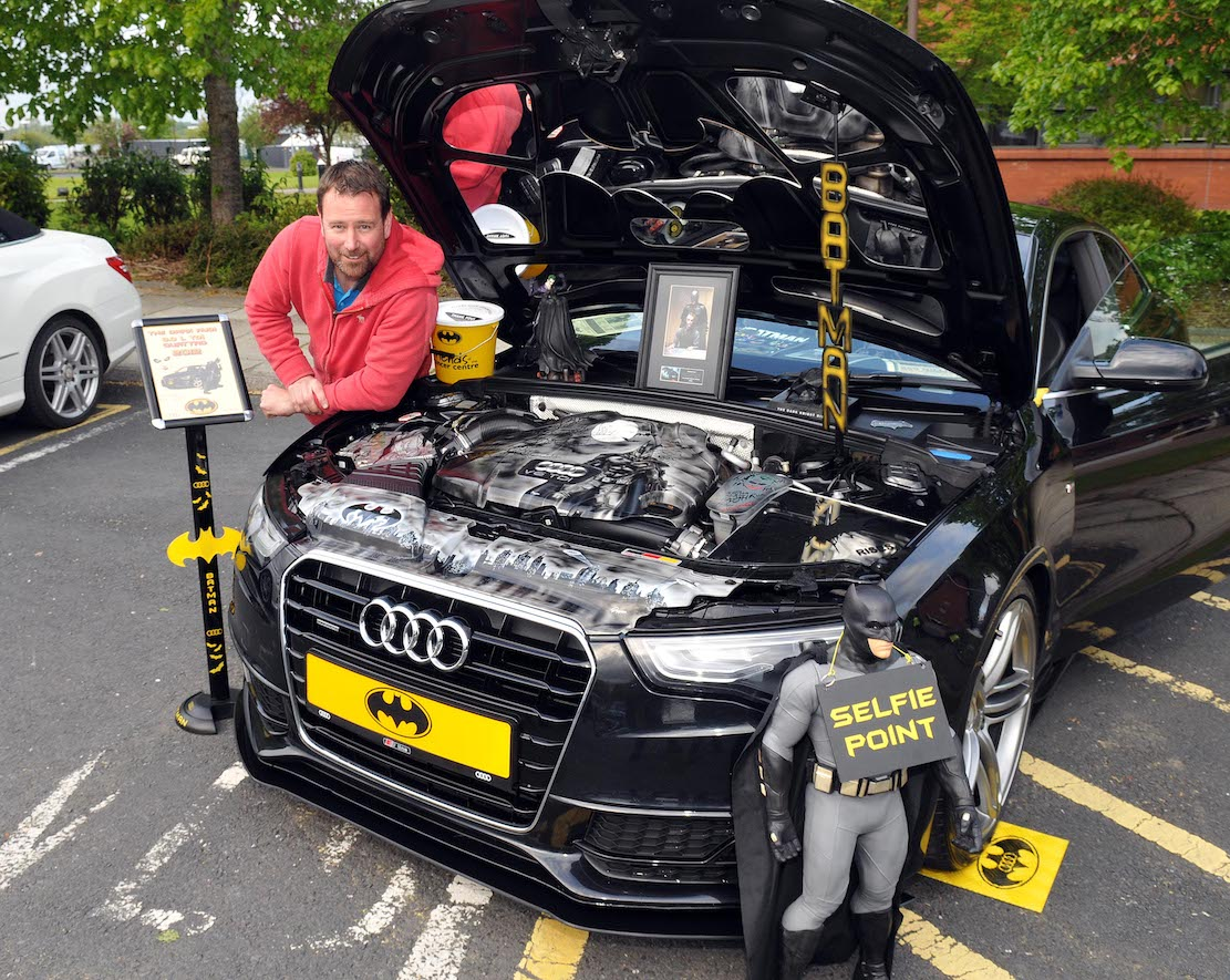 "Dave Pearce from Poradown with his 2012 Audi A5, 3litre TDI, which is called 'The Dark Knight"". A very well prepared and presented car with very special engine bay paintwork."
