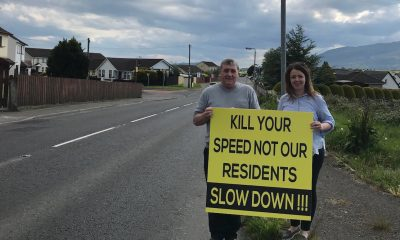 Cllr Liz Kimmins and Chairperson of Toal Harte Sinn Féin Cumann (Killeavey), Enda Hughes pictured on Forkhill Road Cloughogue