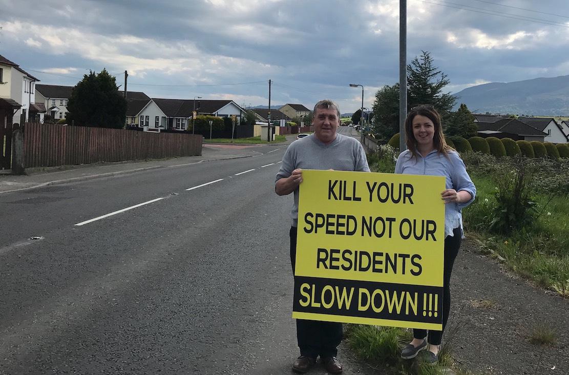 Cllr Liz Kimmins and Chairperson of Toal Harte Sinn Féin Cumann (Killeavey), Enda Hughes pictured on Forkhill Road Cloughogue