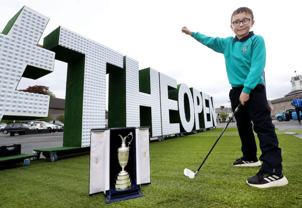 The community event is visiting every county in NI to mark the excitement and civic pride surrounding The Open Championship's return to Royal Portrush this July. Pictured are pupils from St Patrick's Primary School.