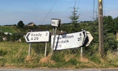 Roads and signs left to ruin in Darkley