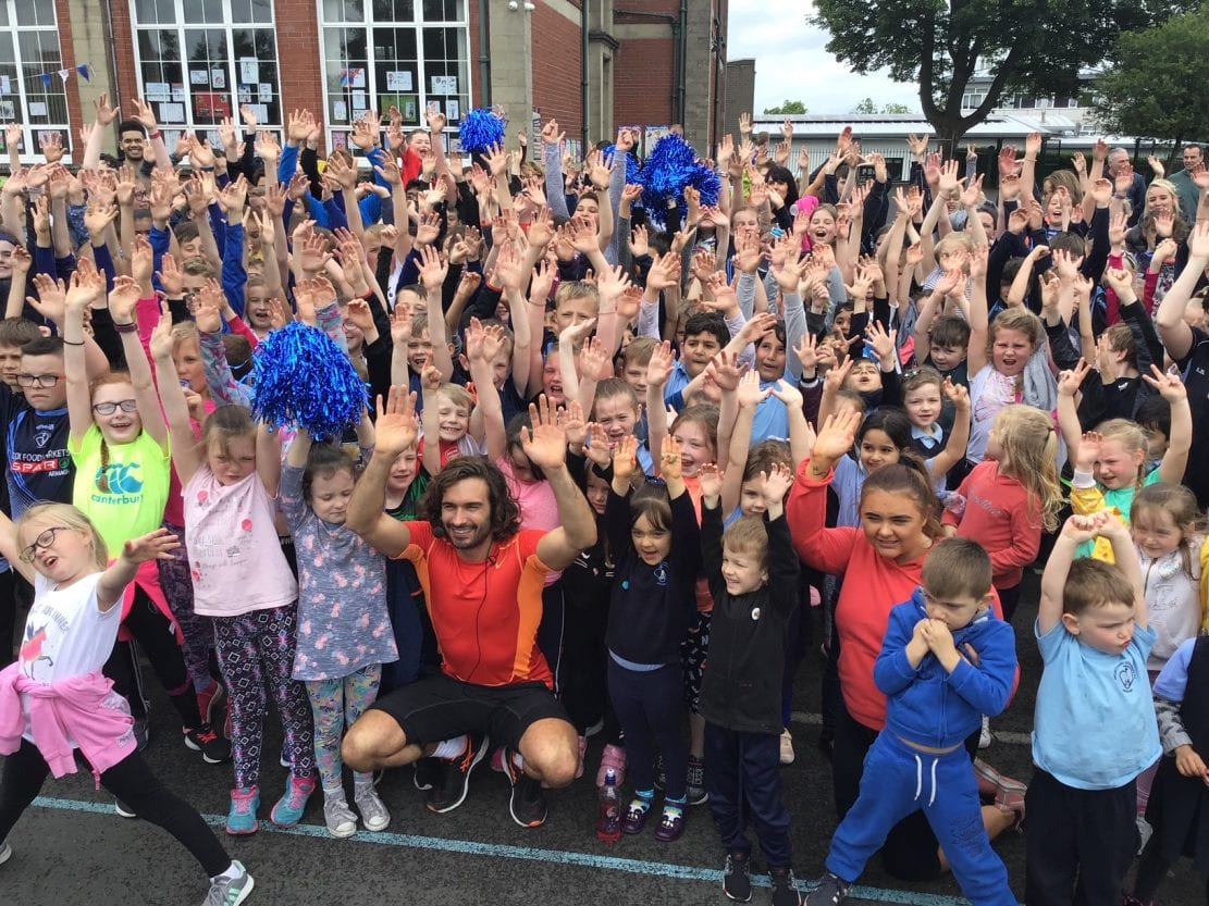 The Bodycoach Joe Wicks visits Armagh primary school
