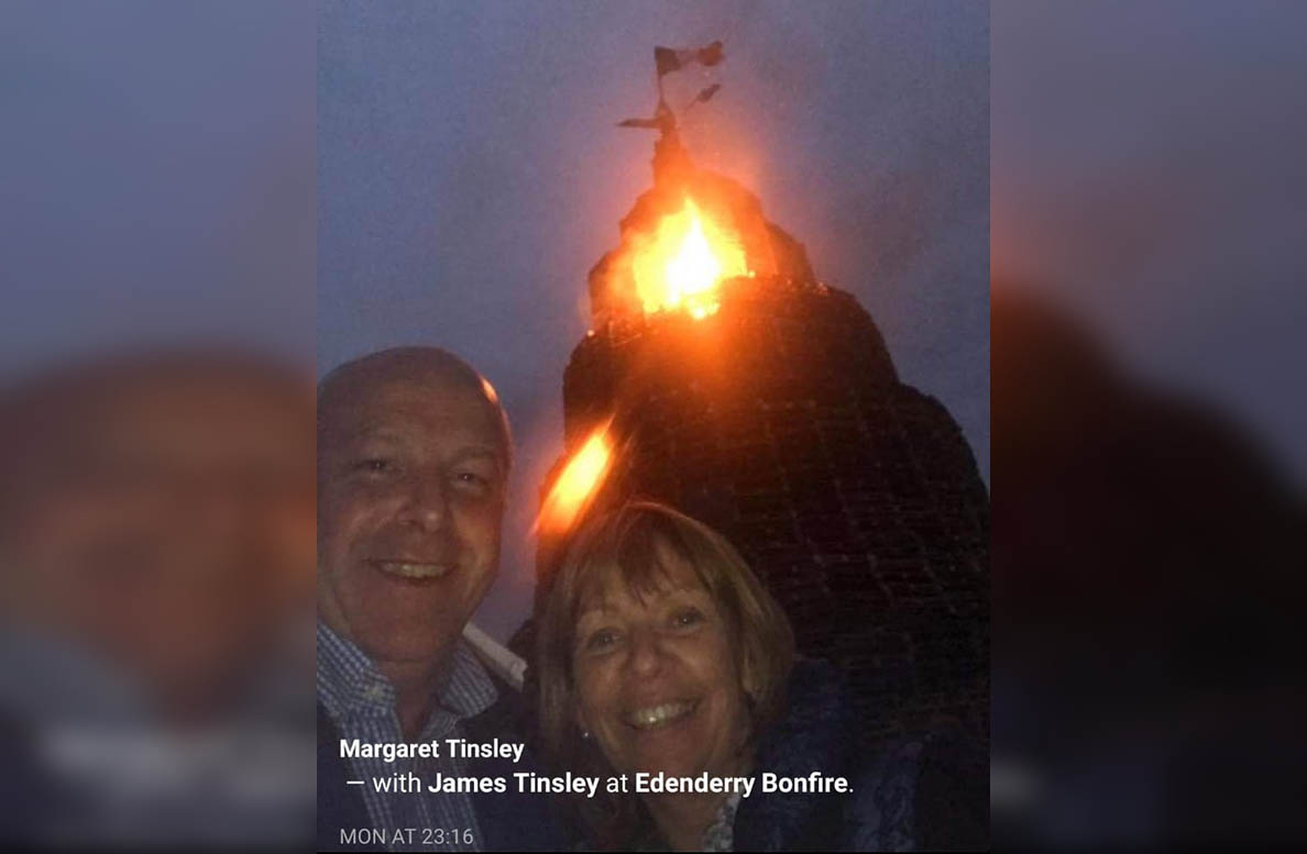 Margaret and James Tinsley bonfire