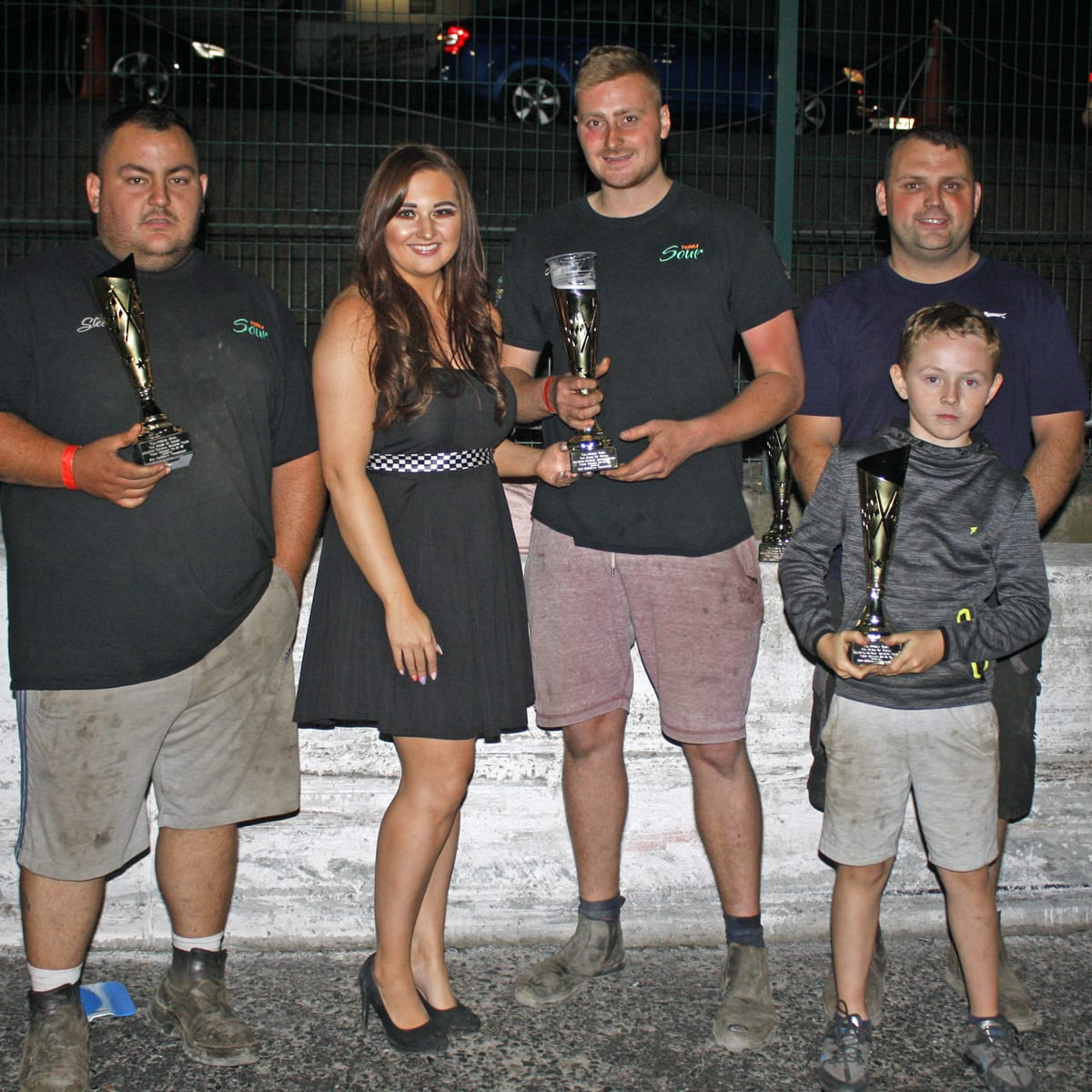Team Sour A Won the Unlimited National Bangers Teams Championship, Stevo McGrath (left), Adam Maxwell (centre) and Paul Gaffney (right) pictured receiving their trophies