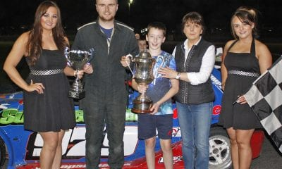 Stuart Cochrane won the Lee Cherry memorial trophy for the 2.0 Hot Rods and received the trophy from members of the Cherry family